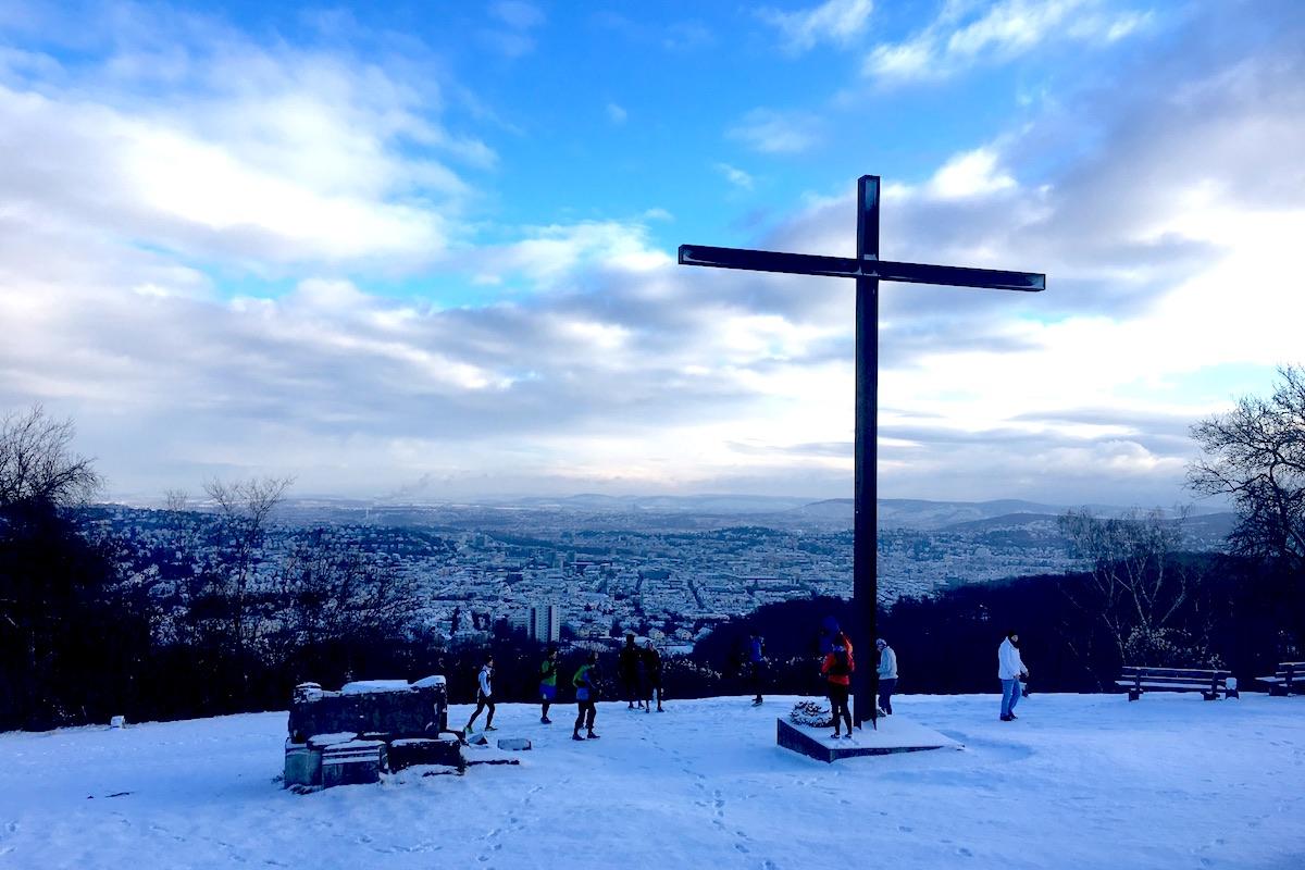 Blick vom Birkenkopf auf Stuttgart im Winter